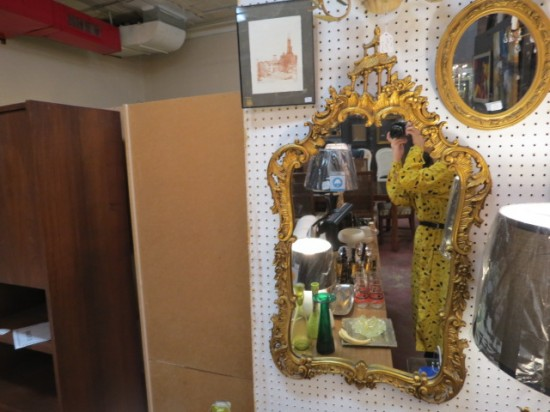 Vintage Antique Chinese Style Gold Wood and Gesso Mirror – $445