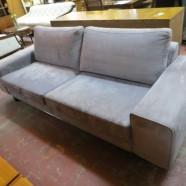 Vintage Mid Century Modern Italdivani Gray Suede Sofa – $895