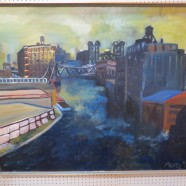 Vintage Mid Century Modern Large Chicago Cityscape Oil Painting – $550