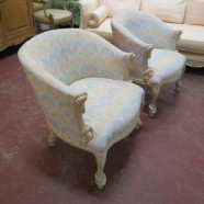 Vintage Antique Pair of Italian Carved Wood Rope Armchairs – $1295