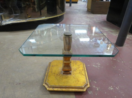 Vintage Antique Small Gilded Glass Top Coffee Table – $115