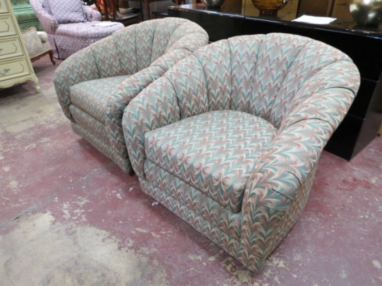 Vintage Mid Century Modern Pair of Swivel Lounge Chairs – $595 for the pair