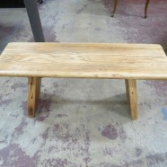 Vintage Antique Oak Top Rustic Bench with Reclaimed Wood – $250