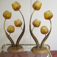 Vintage Mid Century Modern Pair of 4 Arm Flower Lamps – $395 each