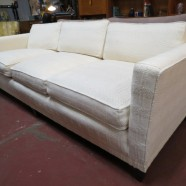 Vintage Mid Century Modern Textured Fabric Sofa – $695