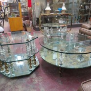 Vintage Hollywood Glam 3pc Tiered Mirror and Glass Table Set – $995 for the set