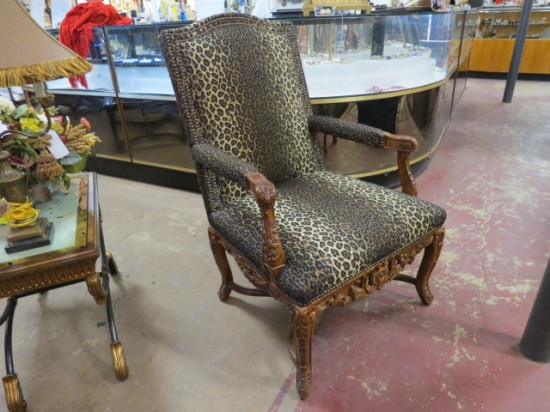 Vintage Antique Drexel Hand Carved Arm Chair with Leopard Fabric – $500