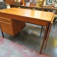 Vintage Mid Century Danish Modern Teak Drop Leaf Desk – $495