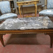 Vintage Antique Marble Top Mahogany Coffee Table – $340