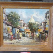 Vintage Antique Paris Impressionist Street Scene Oil Painting with Notre Dame – $595