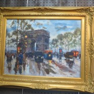 "Vintage Antique ""The Triumph Arch"" Paris Impressionist Street Scene Oil Painting – $595"