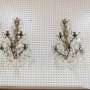 Vintage Antique Pair of French Bronzed Metal and Crystal Sconces – $495 for the pair