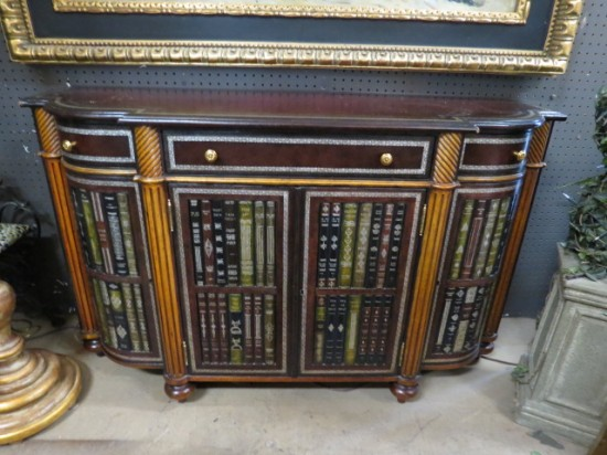 Vintage Antique Maitland Smith Credenza with Faux Books – $2200