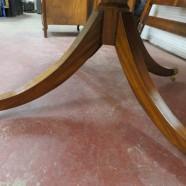 Vintage Maitland-Smith Satinwood and Burlwood Large Drum Table – $850