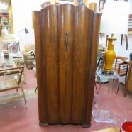 Vintage Antique Art Deco Walnut Armoire Wardrobe – $445