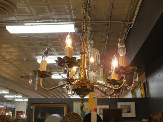 Vintage Antique 5 Arm Gold Colored Chandelier with Crystals – $165