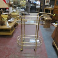 Vintage Mid Century Modern Brass and Glass 2 Tier Bar Cart – $85