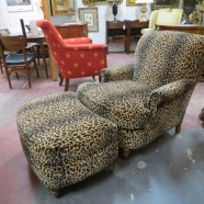 Vintage Leopard Print Velvet Lounge Chair and Foot Stool – $650 for the set