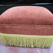 Vintage Velvet Footstool with Fringe – $75
