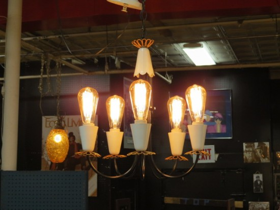 Vintage Mid Century Modern 5 Arm Metal Chandelier with Industrial Bulbs – $425