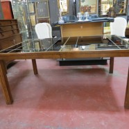 SALE!  Vintage Mid Century Modern Mirror Top Fruitwood Parsons Style Dining Table – $100