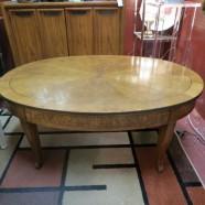 Vintage Antique Oval Walnut Baker Coffee Table – $275