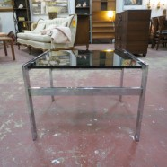 Vintage Mid Century Modern Chrome and Black Glass Side Table – $88