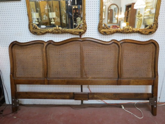 SALE!  Vintage Antique French Style Solid Walnut King Sized Headboard – $100