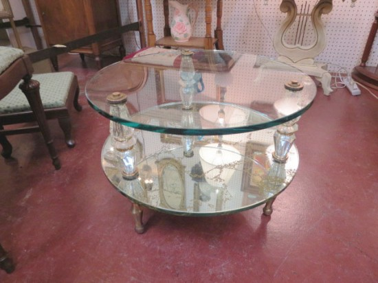 Vintage Hollywood Glam Round Mirrored Small Coffee Table – $225