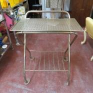 Vintage Mid Century Modern Small Brass Plated Bar Cart – $55