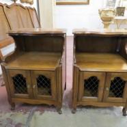 SALE! Vintage Antique French Style Pair of Solid Walnut Nightstands – $250 for the pair
