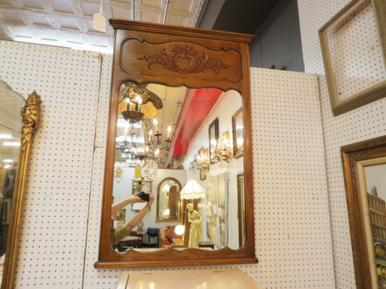 SALE!  Vintage Antique French Style Solid Walnut Mirror – $100