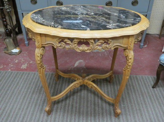 Vintage Antique French Style Carved Bleached Walnut Marble Top Side Table – $295