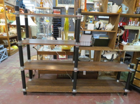 Vintage Mid Century Modern Faux Walnut Shelf Unit – $165