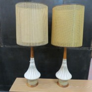 Vintage Mid Century Modern Pair of Ceramic Lamps with Double Shades – $350 for the pair