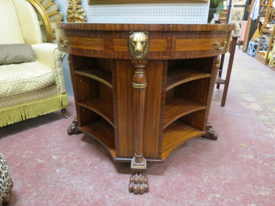 Vintage Maitland-Smith Round Mahogany Library Table/Bookcase – $2300