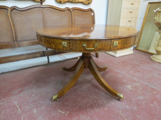 Vintage Maitland-Smith Satinwood and Burlwood Large Drum Table – $850