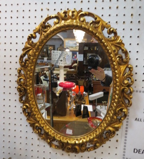 antique walnut round mirror lincoln antique mall antiques and vintage furniture